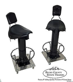 Unusual Pair of Custom Motorcycle Seat Bar Stools