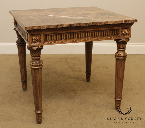 Quality French Louis XVI Style Square Marble Top Side Table