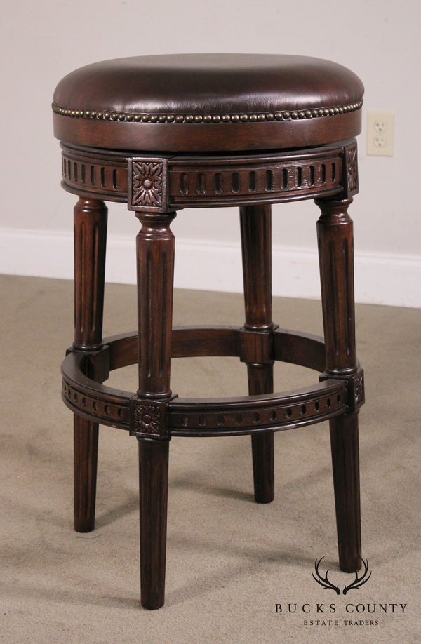 Louis XVI Style Brown Leather Swivel Bar Stool