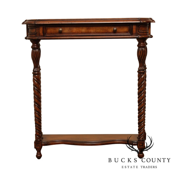 Louis XVI Style Burl Wood Leather Top Narrow Console Table