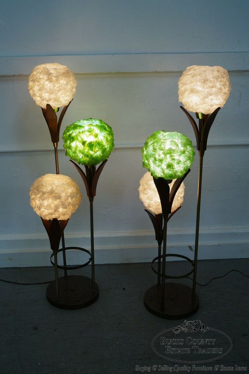 Mid Century Pair of Tall Graduating 3 Light Walnut & Fiberglass Tulip Lamps