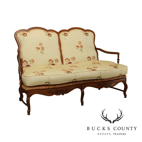 Drexel Heritage French Country Style Rush Seat Settee