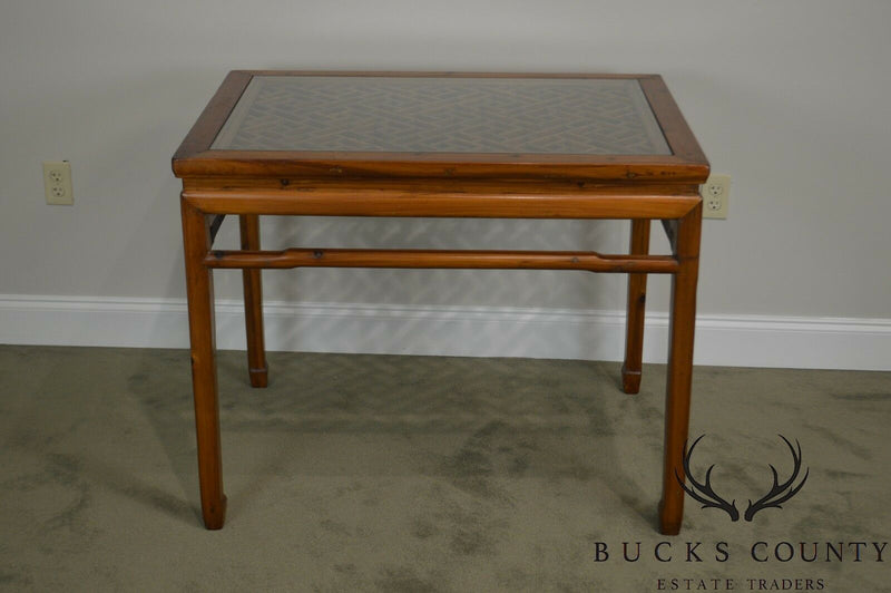Vintage Chinese Lattice Work Table with Glass Top