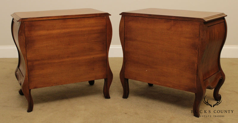 French Louis XV Style Vintage Pair Bombe Chests Nightstands by White