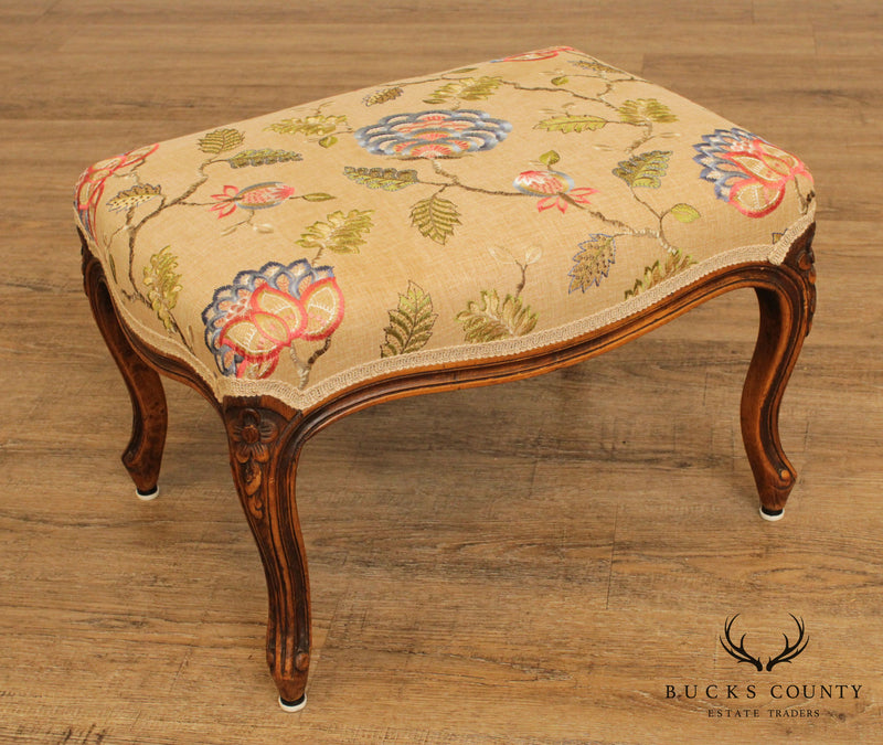 French Louis XV Style Vintage Footstool Crewel Work Upholstered