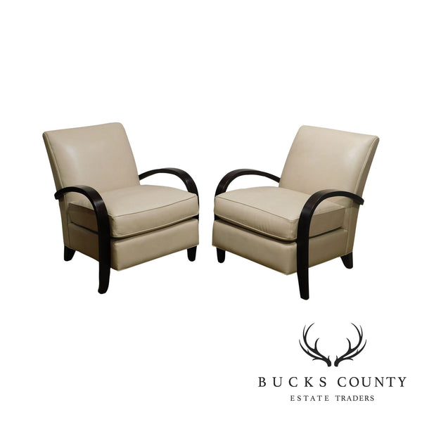 McCreary Modern Room & Board Art Deco Style Pair Leather Lounge Chairs (A)
