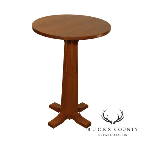 Stickley Mission Collection Oak Round Top Pedestal Bistro Table