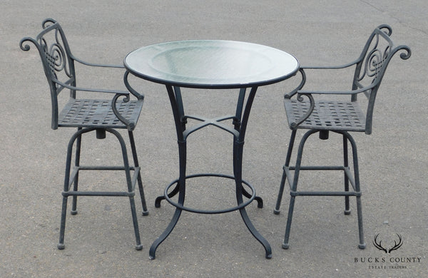 Quality Black Cast Aluminum Patio 3 pc Bar Height Bistro Table + 2 Chairs Set