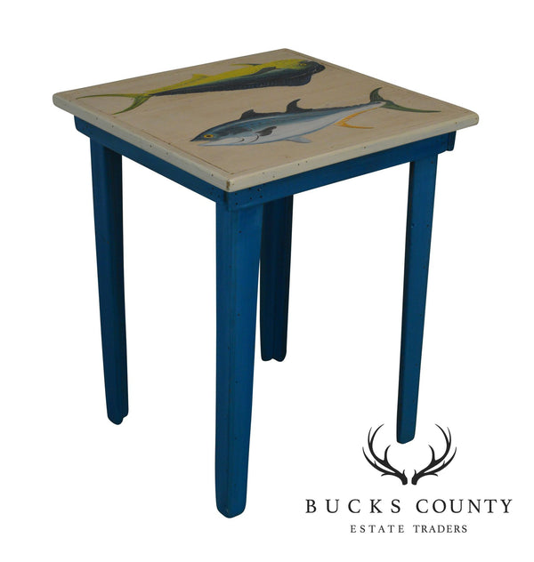 Hand Painted Yellowfish Tuna and Mahi Mahi Fish Rustic Wood Side Table by Tom Hart