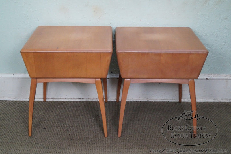 Heywood Wakefield Champagne Mid Century Modern Maple Pair of Side Tables
