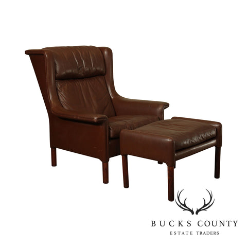 Danish Modern Brown Leather Rosewood Wing Chair with Ottoman