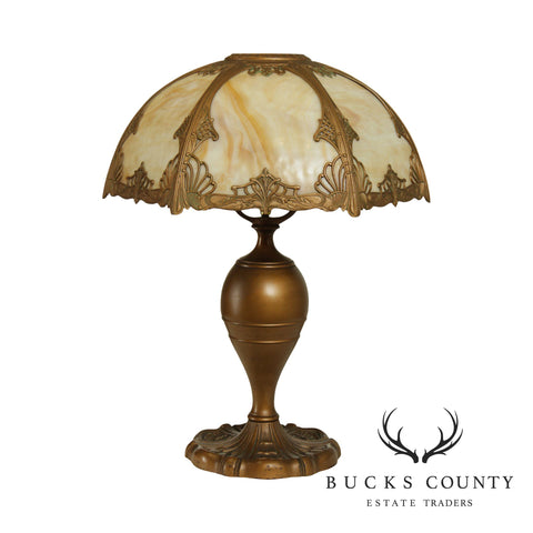 Antique Butterscotch Slag Glass Shade and Bronze Colored Table Lamp