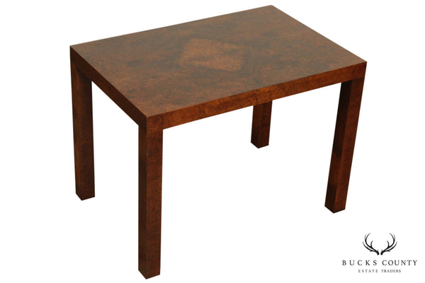 Milo Baughman for Directional, Calvin Furniture Mid Century Modern Burlwood Side Table