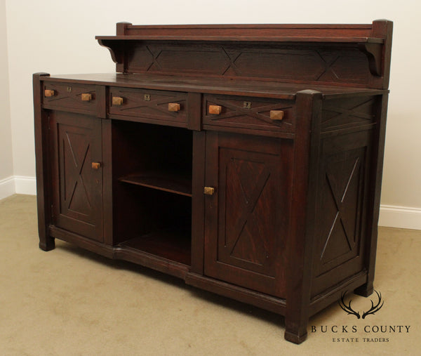 Joseph McHugh Large Antique Mission, Arts & Crafts Style Oak Sideboard