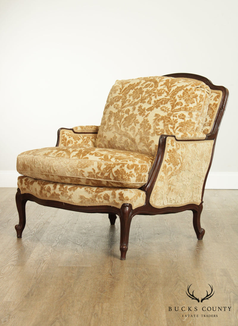 Lewis Mittman French Louis XV Style Custom Upholstered Pair Bergeres Chairs (B