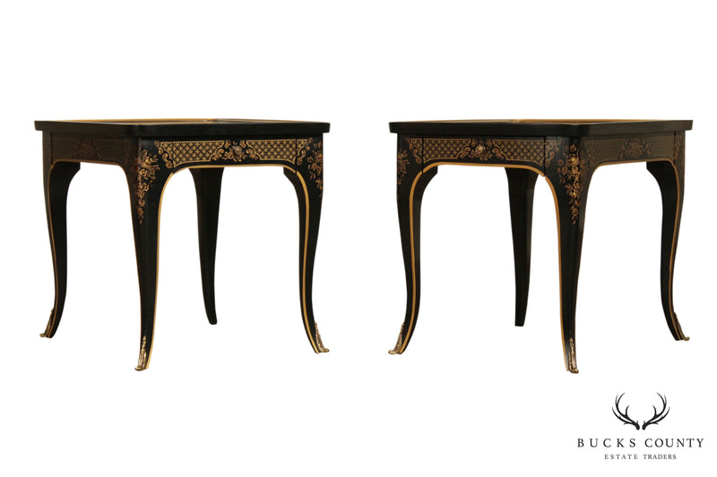 Drexel Heritage ET Cetera Chinoiserie & Burl Wood Louis XV Style Pair Side Tables