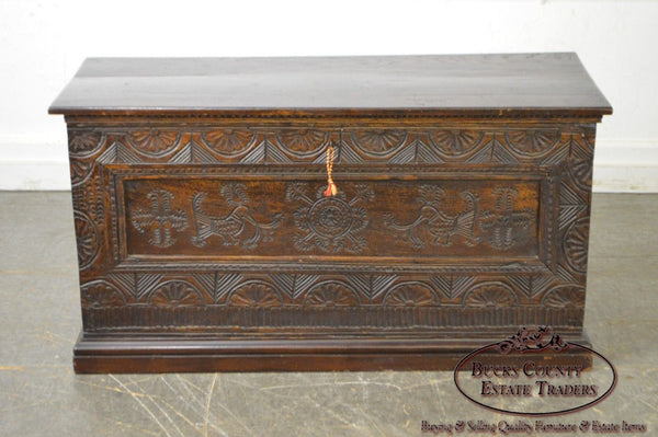 Antique 18th Century Oak Lidded Chest Coffer