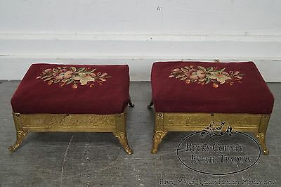 Victorian Aesthetic Pair of Brass Footstools attributed to Charles Parker