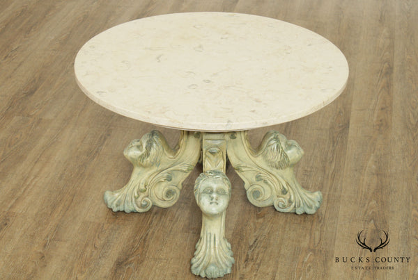 Vintage Italian Baroque Style Figural Carved Base Round Marble Top Coffee Table