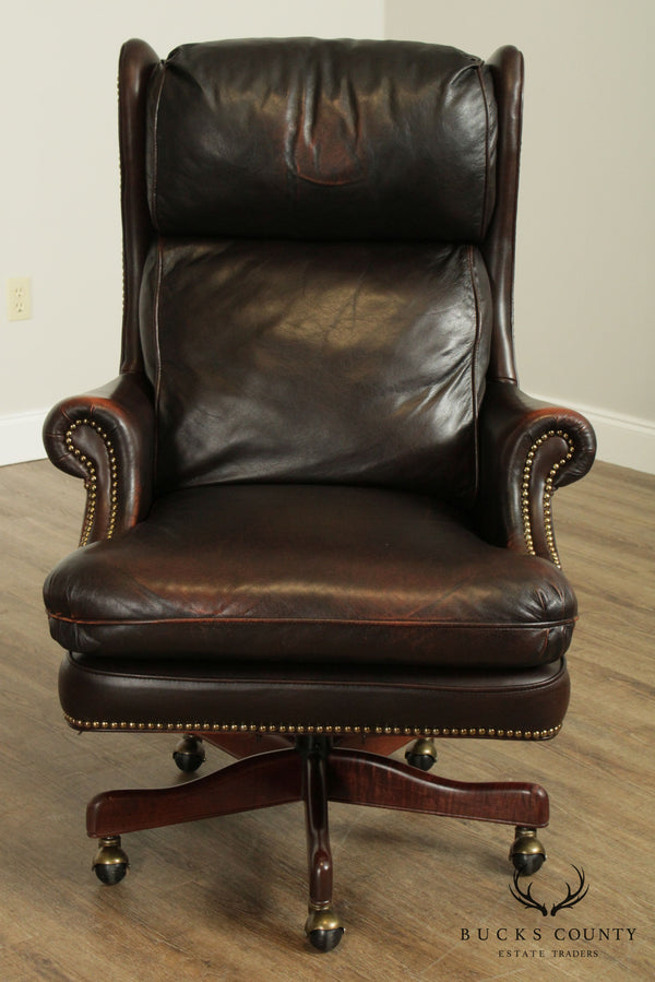 Bradington Young Brown Leather Executive Swivel Tilt Desk Chair