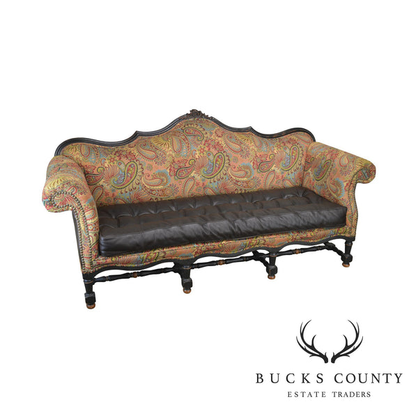 French Louis XIV Style Old Hickory Tannery Tufted Brown Leather and Paisley Upholstered Sofa