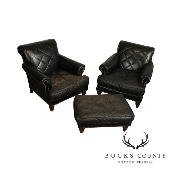 Old Hickory Tannery Distressed Black Quilted Leather Pair Lounge Chairs with Ottoman