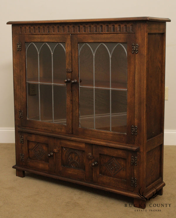 English Jacobean Style Oak Bookcase Cabinet