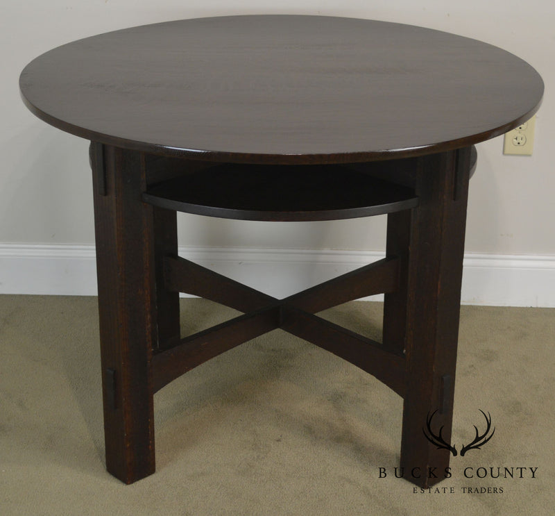 "Mission Oak Antique 40"" Round Games Table"