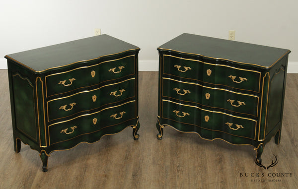 Dixon Powdermaker French Louis XV Style Green Lacquer Pair Chests