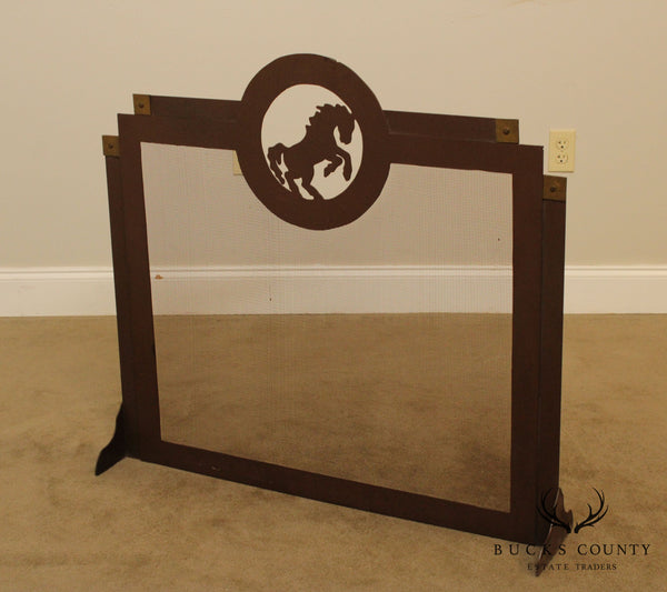 Quality Arts & Crafts Style Iron Fire Place Screen, Horse Cut Out