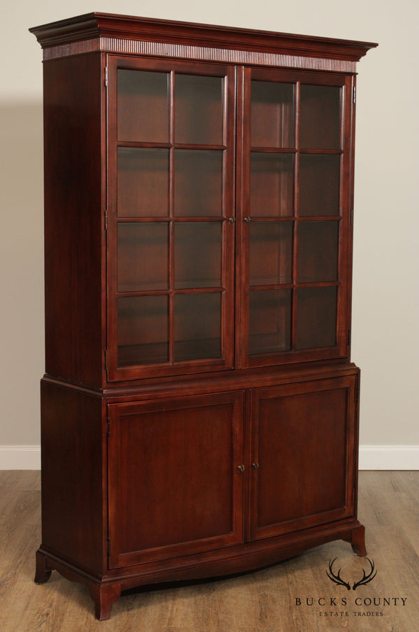 Ralph Lauren Hepplewhite Style Tall Mahogany China Display Cabinet