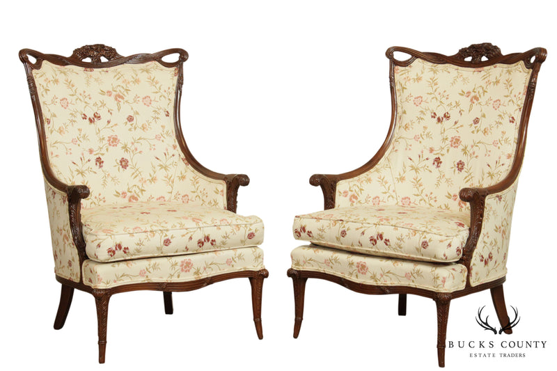 1940's Vintage French Regency Style Carved Mahogany Pair Fireside Chairs