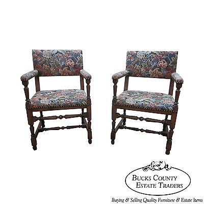 Antique Jacobean Style Pair of Library Arm Chairs