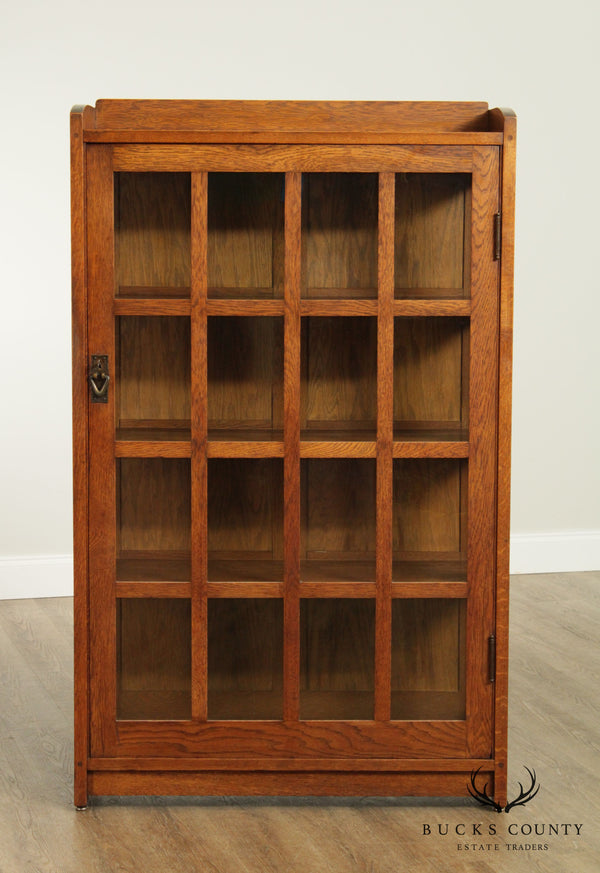 Gustav Stickley Antique Mission Oak One Door China Cabinet Bookcase