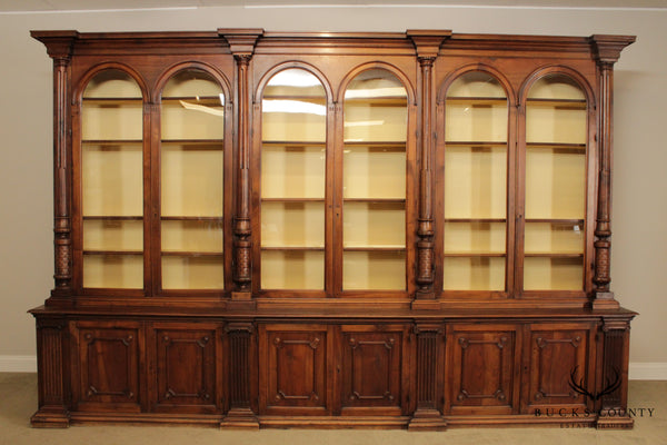 Monumental Italian Walnut Antique 13 Foot Wide Bookcase