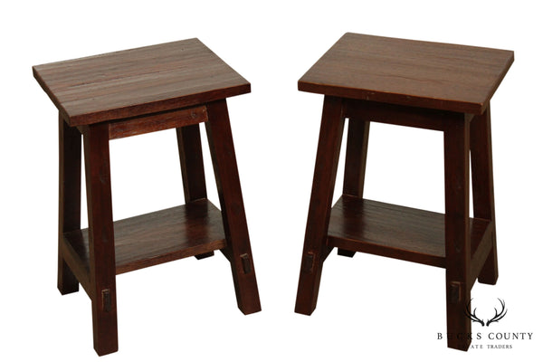 Craftsman Rustic Style Pair Hard Wood Side Tables