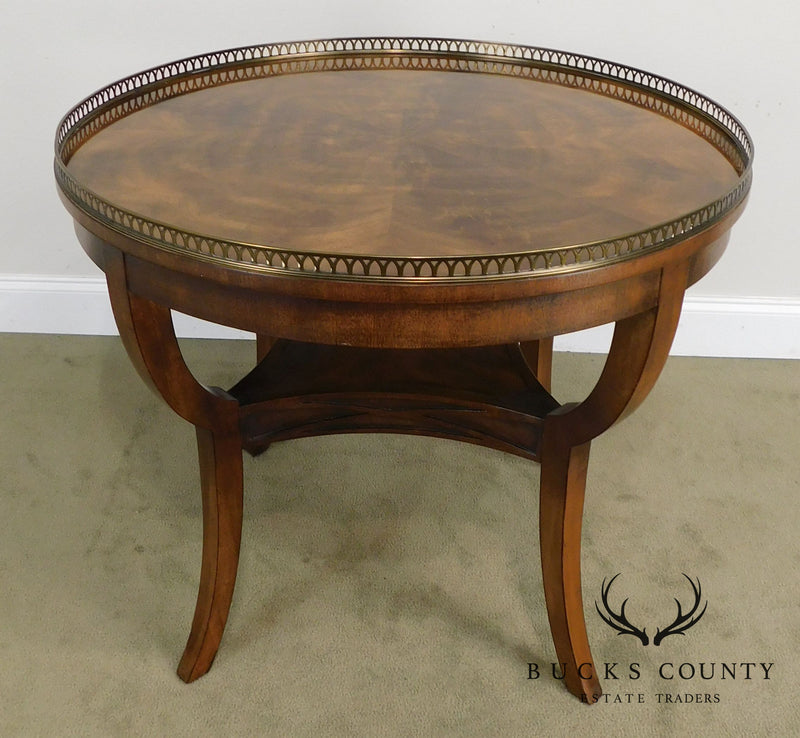 Henredon Regency Style Flame Mahogany Round Center Lamp Table