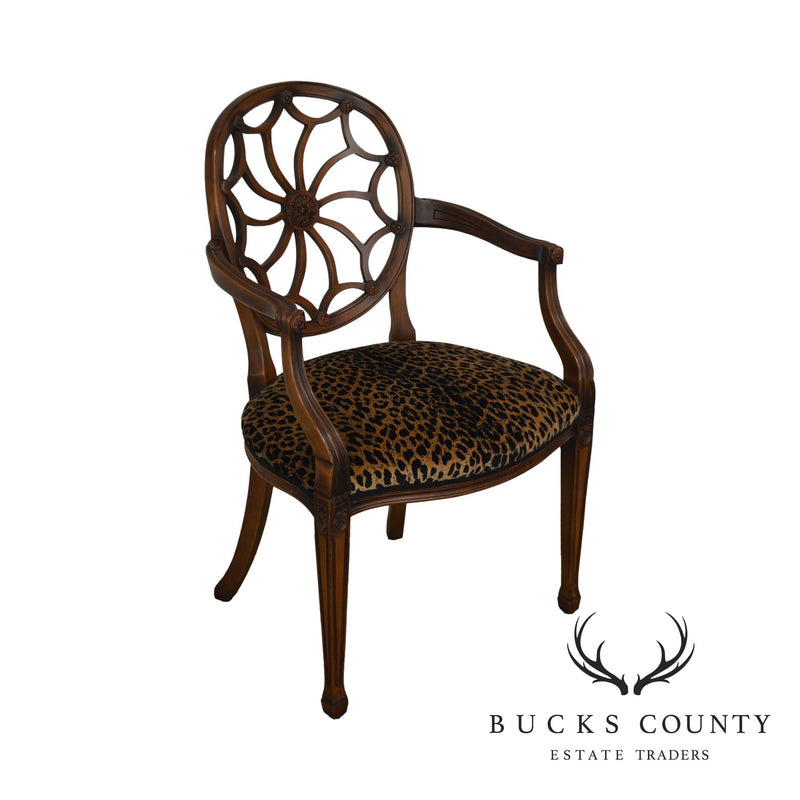 Regency Style Custom Leopard Print Spider Back Armchair by Design World