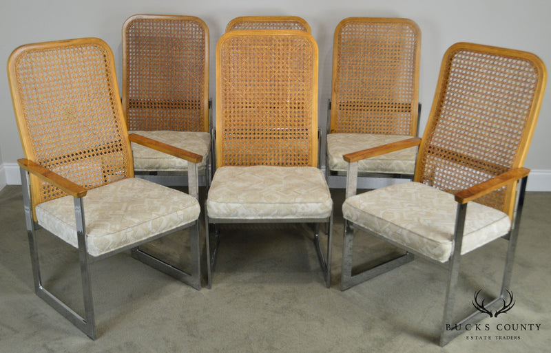 Milo Baughman for Lane Mid Century Modern Set of 6 Cane Back Chrome Dining Chairs