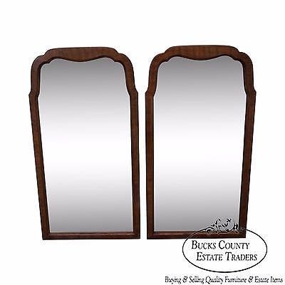 Pair of Walnut Frame Arch Top Wall Mirrors (B)