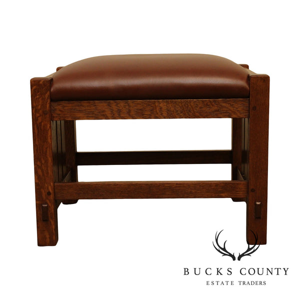 Stickley Mission Collection Oak, Brown Leather Footstool
