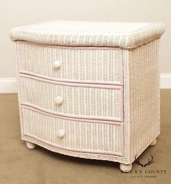 Vintage Painted Wicker 3 Drawer Nightstand