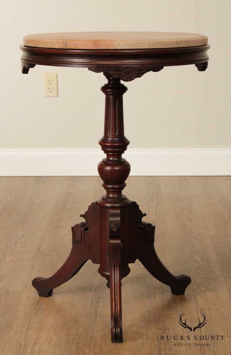 Antique Victorian Walnut Round Marble Top Pedestal Side Table