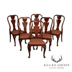 Baker Mahogany Set 6 Queen Anne Style Dining Chairs