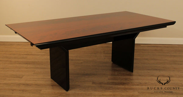 Italian Modern Black Laquered and Flame Mahogany Top Dining Table