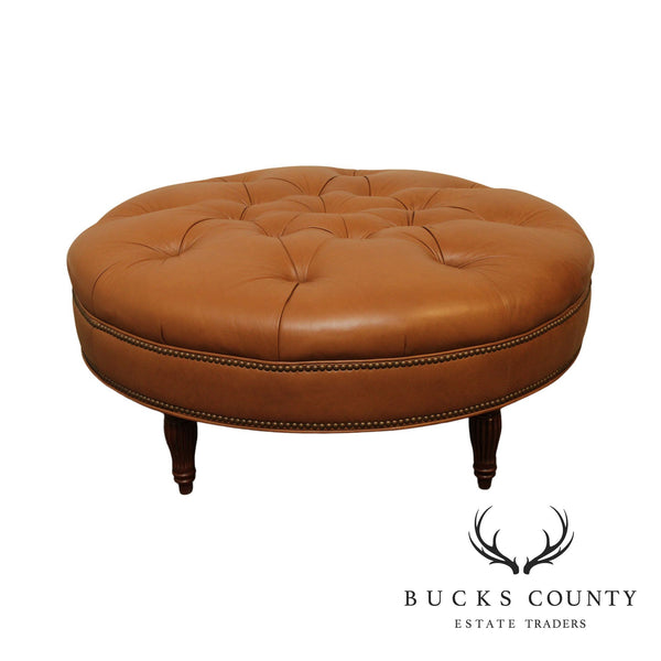 Bradington Young Round Tufted Leather Ottoman