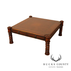 Theodore Alexander Square Leather Top Regency Style Coffee Table