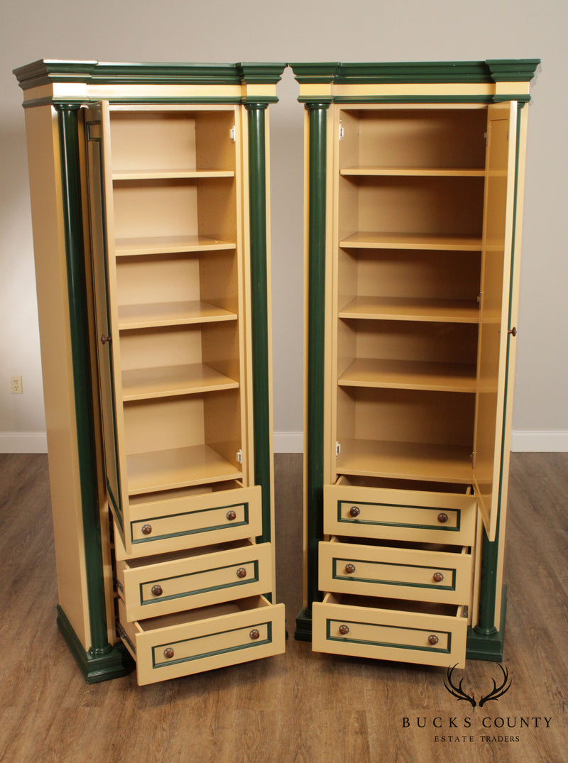 Hollywood Regency Vintage Custom Pair Tall Painted Armoires, Cabinets