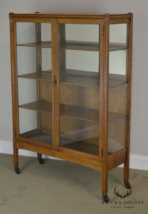 Art Nouveau Antique Golden Oak Bookcase China Cabinet