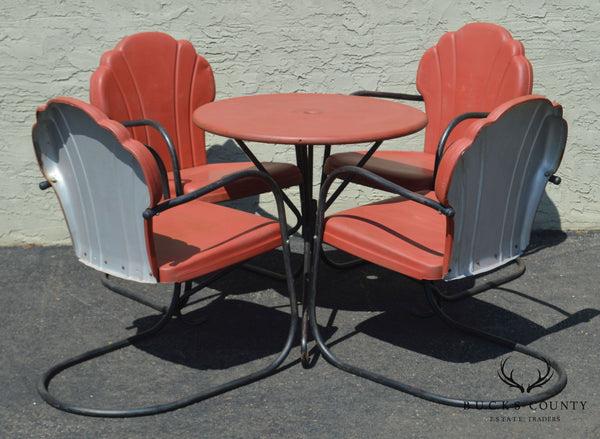 Art Deco Style Vintage Clamshell Set 4 Metal Lawn Chairs and Table Patio Set